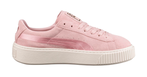 SHOES FOR PEOPLE WHO DONT LIKE FEET PUMA SATIN SUEDE PLATFORM SNEAKER PINK